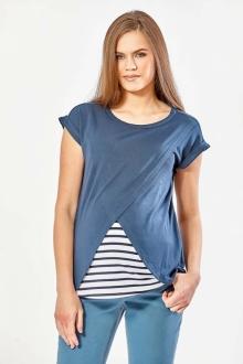 """Блузка для беременных темно-синего цвета в стиле """"тельняшка"""""""