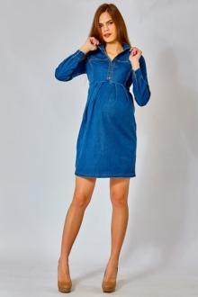 Джинсовое платье для беременных с воротником