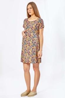 Платье для беременных летнее бежевое с бабочками