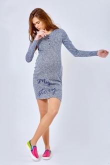 Облегающее летнее платье для беременных цвета меланж