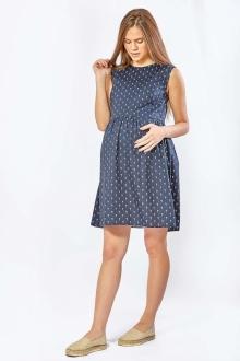 Платье для беременных летнее синее с набивным рисунком